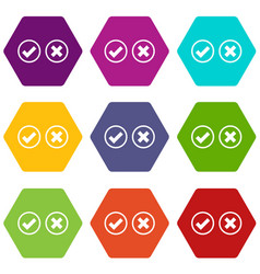 Tick and cross selection icon set color hexahedron vector