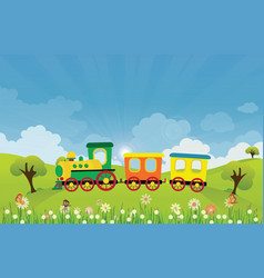 Toy train riding on spring summer meadow vector