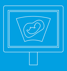 Ultrasound fetus icon outline style vector