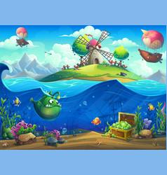 undersea world with inhabitants and island vector image