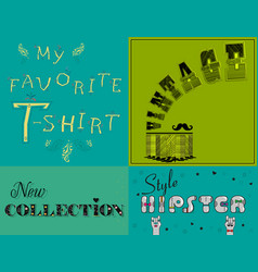 Vintage cards with texts by artistic font vector