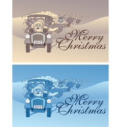 vintage christmas flyer vector image