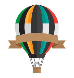 vintage style aerostat with ribbon banner vector image