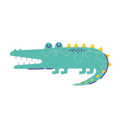 walking crocodile animal cartoon doodle color vector image