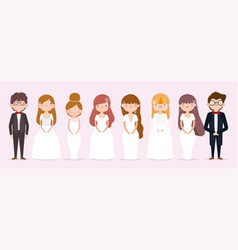 wedding couple grooms and brides with suits vector image