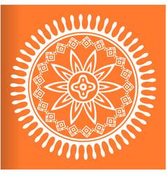 white mandala orange background image vector image