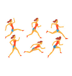 young woman dressed in sportswear running set vector image