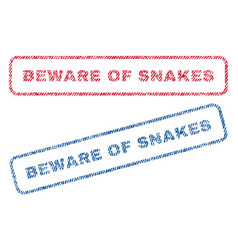 beware of snakes textile stamps vector image