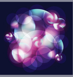 circles and bubbles lilac and purple on dark vector image