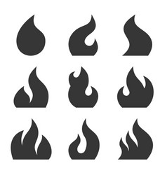 fire icon set on white background vector image vector image