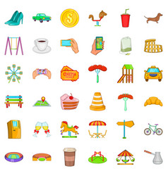 Great city icons set cartoon style vector