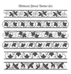 Medieval Floral Border Set vector image vector image