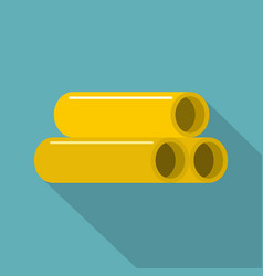 yellow pipes icon flat style vector image vector image