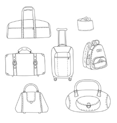 Black and white travel bags linear drawings set vector image vector image
