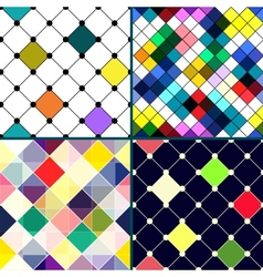 Set of four retro seamless pattern with rhombus vector