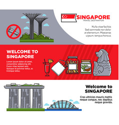 welcome to singapore promotional posters with vector image