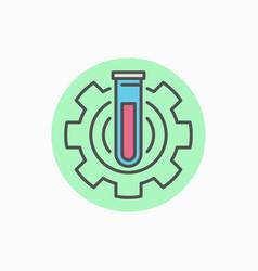 laboratory tube in gear icon vector image vector image