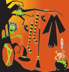 witch and her clothesline vector image vector image