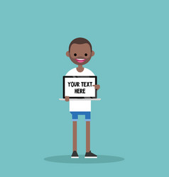 Your text here young character holding a laptop vector