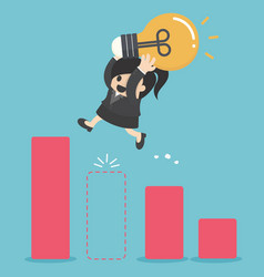 business woman holding light bulb jump through vector image vector image