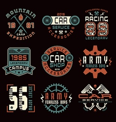 Set of sports car service and military emblems vector image vector image