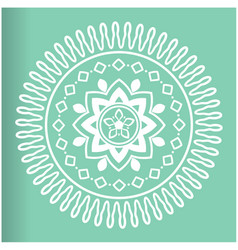 White abstract mandala green background ima vector