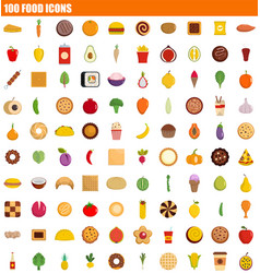 100 food icon set flat style vector