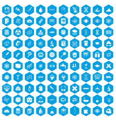 100 microscope icons set blue vector