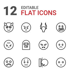 12 angry icons vector