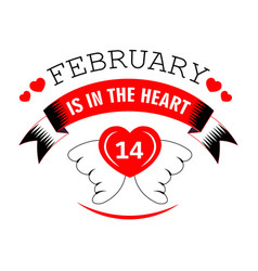 14 february in heart valentines day isolated icon vector image