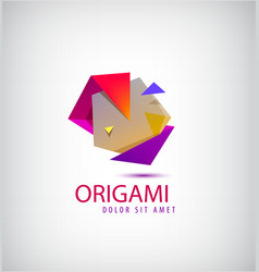 abstract colorful 3d origami logo vector image vector image