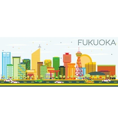 Abstract Fukuoka Skyline with Color Buildings vector