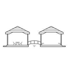 Abstract outline drawing two connected houses vector