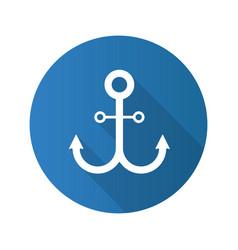 Anchor flat design long shadow glyph icon vector