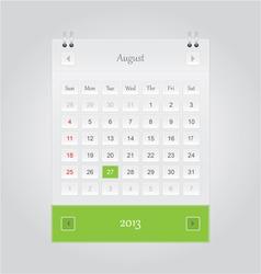 August 2013 Calendar vector