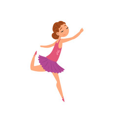 Ballerina character in purple tutu dress cartoon vector