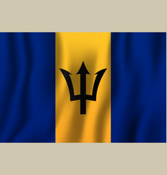 barbados realistic waving flag national country vector image