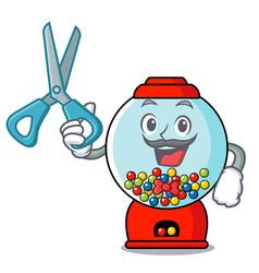 barber gumball machine character cartoon vector image