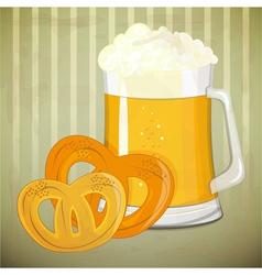 beer and pretzels vector image vector image