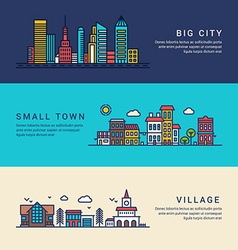 Big City Small Town and Village Flat Style Line vector