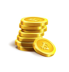 Bitcoin golden coins pile stack internet virtual vector