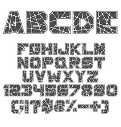 black and white alphabet numbers and signs vector image