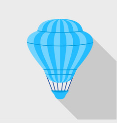 blue hot air balloon icon flat style vector image