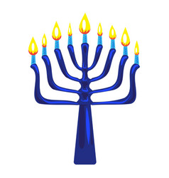 Blue menorah icon cartoon style vector