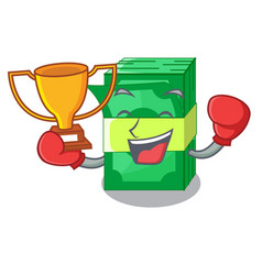 Boxing winner set money in packing bundles cartoon vector