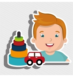 Boy toy car cartoon vector