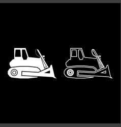 Bulldozer icon set white color flat style simple vector