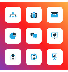 Business colorful icons set collection of team vector