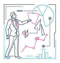 businessman showing a diagram - line design style vector image