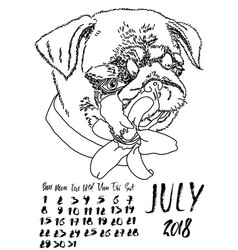 Calendar with dry brush lettering july 2018 dog vector